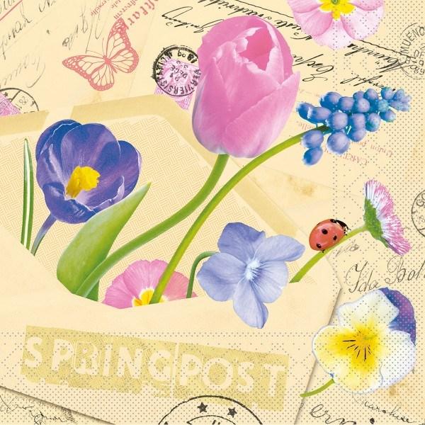 Tissue Serviette Springpost, 40x40 cm, 100 Stück - Mank
