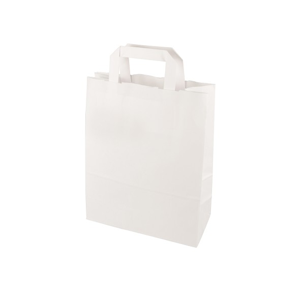 Tragetaschen, Papier 28 cm x 22 cm x 10 cm, Weiß mit Tragegriff - Papstar