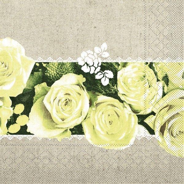 Tissue Serviette Lovely Roses in Gelb, 33 x 33 cm, 100 Stück