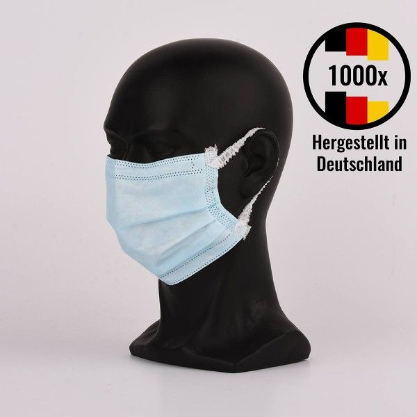 Medizinische Gesichtsmaske Typ IIR, 3lagig, OP-Maske hergestellt in Deutschland - 1000 Stück