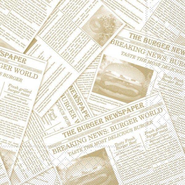 Tissue Serviette Newspaper in Beige 33 x 33 cm, 100 Stück - Mank