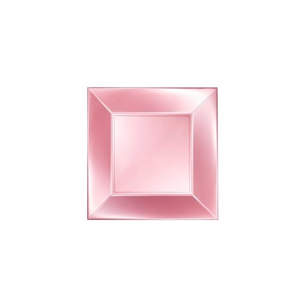 Einweg Dessertteller Perlmutt-Rosa 18 x 18cm aus Plastik (PP), 8 Stück - Mank