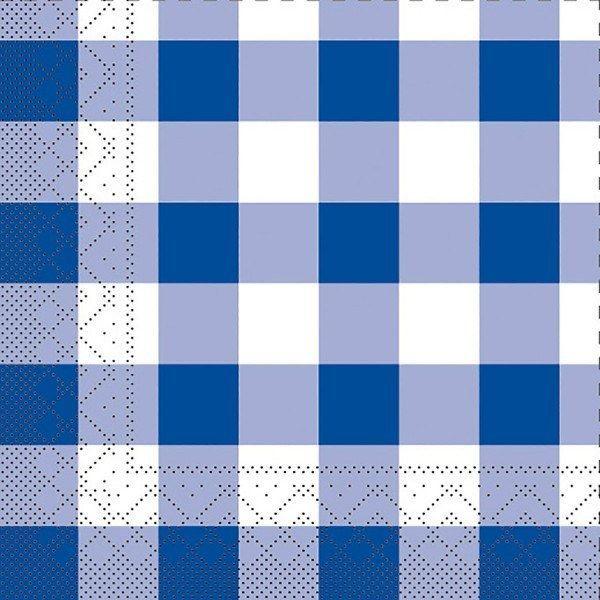 Tissue Serviette Karo in Blau, 25 x 25 cm, 100 Stück - Mank