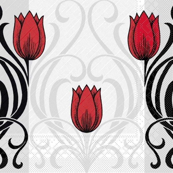 Tissue Deluxe Serviette Annika in Rot-Schwarz, 40 x 40 cm, 50 Stück - Mank