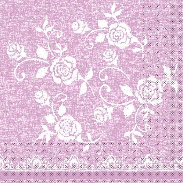 Tissue Serviette Lace in Rose, 33 x 33 cm, 100 Stück - Mank