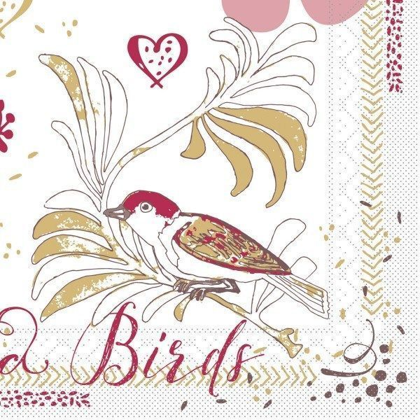 Softpoint Serviette Love & Birds, 40 x 40 cm, 50 Stück - Mank