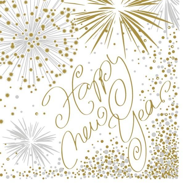 Airlaid Serviette Happy New Year, 25 x 25 cm, 50 Stück - Mank