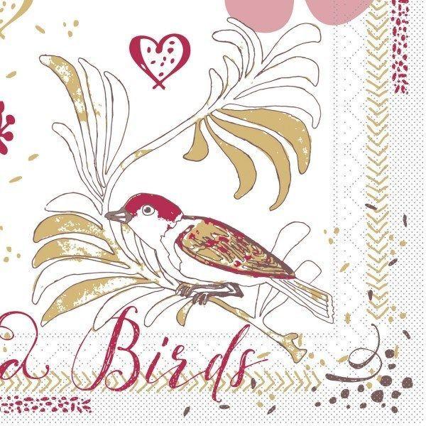 Tissue Serviette Love & Birds, 33 x 33 cm, 100 Stück - Mank