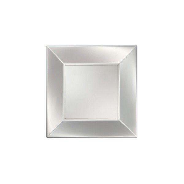 Einweg-Teller groß, Perlmutt-Weiss 29x29cm aus Plastik (PP), 8 Stück - Mank