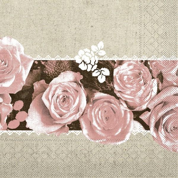 Tissue Serviette Lovely Roses in Rosa, 40 x 40 cm, 100 Stück - Mank