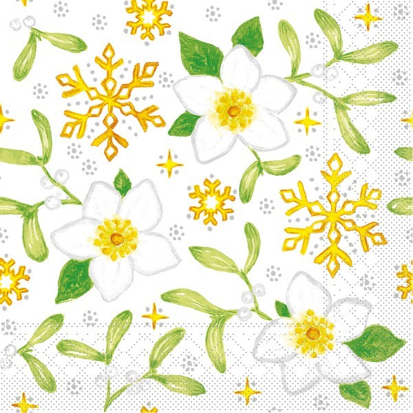Tissue Serviette Mistletoe, 33 x 33 cm, 100 Stück - Mank