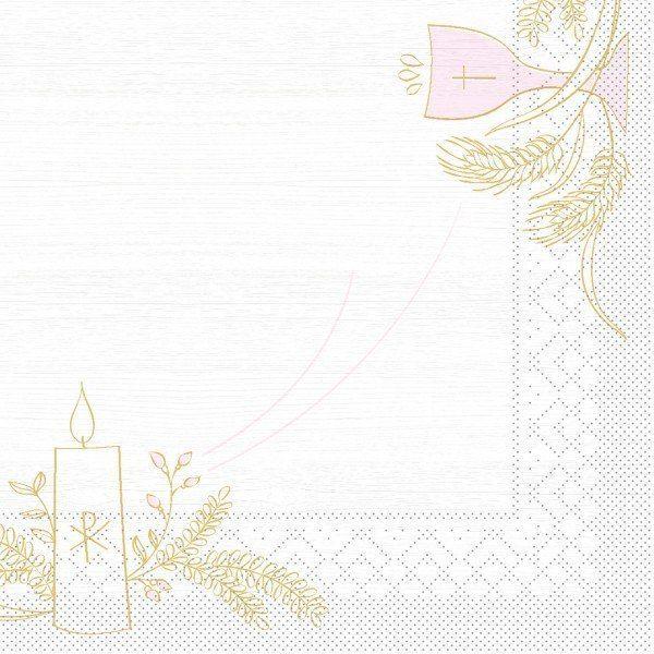 Tissue Serviette Kommunion/Konfirmation Holz in Rosa-Grau, 33 x 33 cm, 100 Stück - Mank