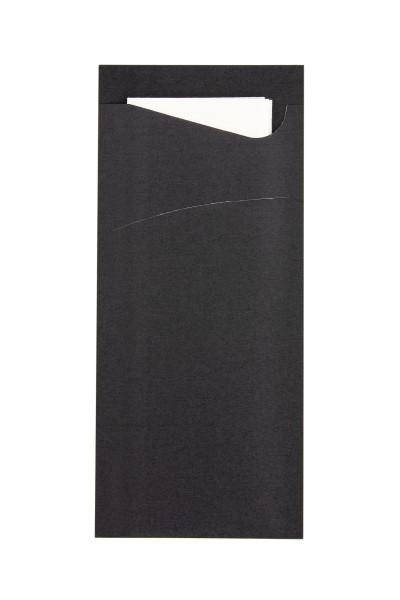 Bestecktasche Prime Fit in Schwarz 85 x 190 mm, mit 2-lagiger Tissue-Serviette in Weiß - 100 Stück