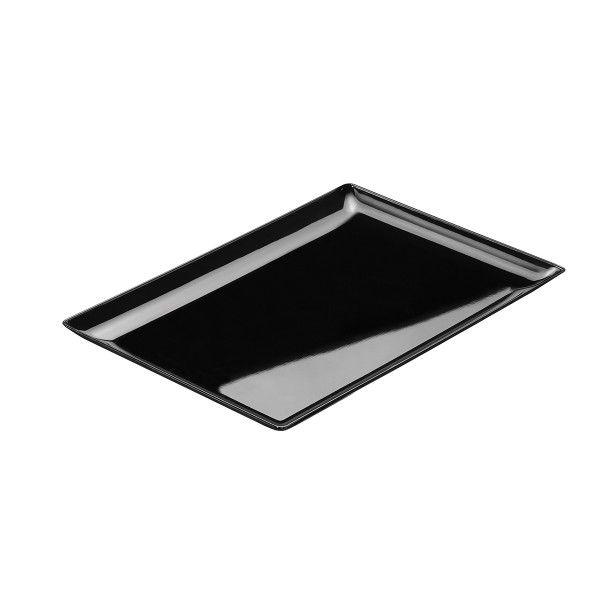 Einweg Fingerfood Teller schwarz rechteckig 193x135x37mm aus Plastik, 12 Stück - Mank