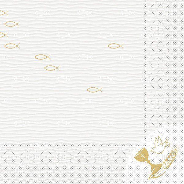 Tissue Serviette Kommunion / Konfirmation Fisch, 33 x 33 cm, 100 Stück - Mank