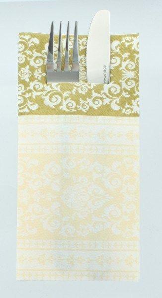 Airlaid Besteckservietten Pascal in Gold-Creme, 40 x 40 cm, 75 Stück - Mank