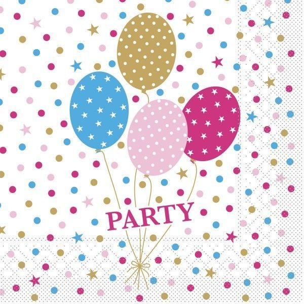 Tissue Serviette Party Ballons in Pink-Gold, 33 x 33 cm, 100 Stück