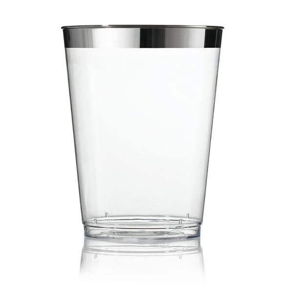 Einweg Wasserglas Silberrand 9,9cm metallisiert aus Plastik, 12 Stück - Mank