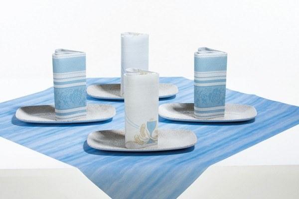 Airlaid Tischdecke Aquarell in Blau, 80 x 80 cm, 20 Stück - Mank