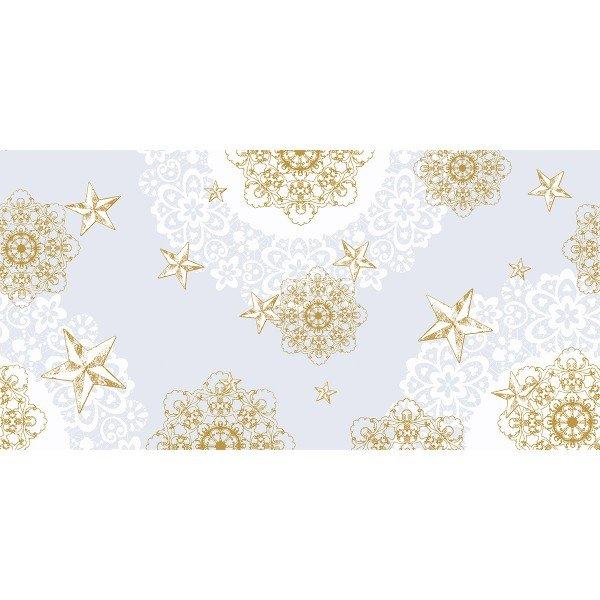 Airlaid Tischläufer Sternenschein in Grau-Gold, 40 cm x 24 m, 1 Stück - Mank