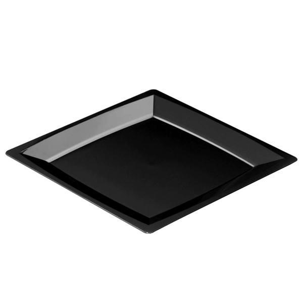 Einweg Teller MILAN Gr.XL in Schwarz 23,5 x 23,5cm aus Plastik, 12 Stück - Mank