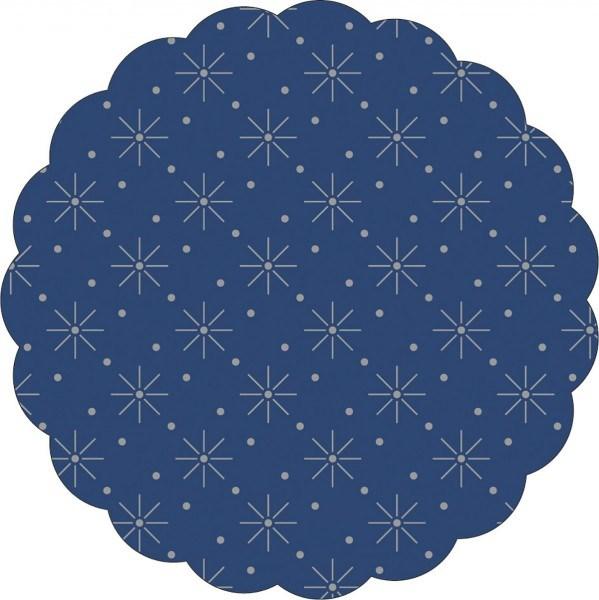 Tissue Deckchen mit Sterne - Punkte Prägung in Blau, Ø 80mm, 250 Stück - Mank