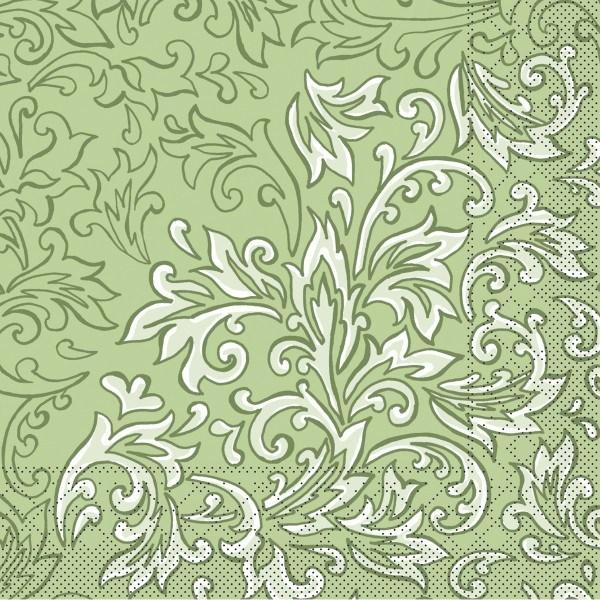 Tissue Serviette Delia in Grün, 40x40 cm, 100 Stück - Mank