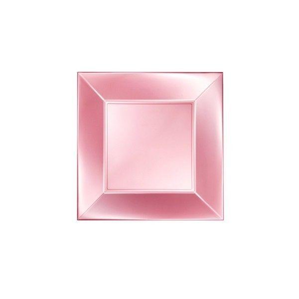 Einweg-Teller groß, Perlmutt-Rosa 29x29cm aus Plastik (PP), 8 Stück - Mank