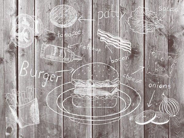 Papier Tischset Burger Board in Grau, 40 x 30 cm, 500 Stück - Mank