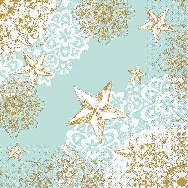 Tissue Serviette Sternenschein in Mintgrün-Gold, 40 x 40 cm, 100 Stück - Mank