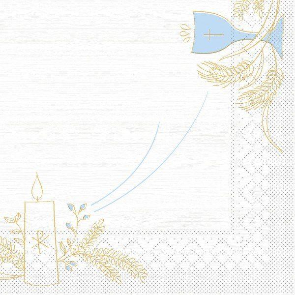 Tissue Serviette Kommunion/Konfirmation Holz in Blau-Grau, 33 x 33 cm, 100 Stück - Mank