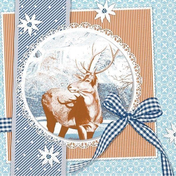 Tissue Serviette Finn in Blau, 33 x 33 cm, 100 Stück - Mank