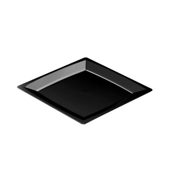 Einweg Teller MILAN Gr. M in Schwarz 17,2 x 17,2cm aus Plastik, 24 Stück - Mank