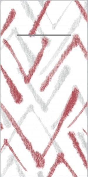 Airlaid Besteckservietten Zack in Grau-Bordeaux, 40 x 40 cm, 75 Stück - Mank