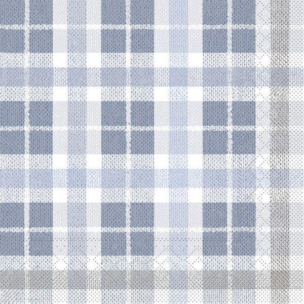 Tissue Serviette Fred in Blau-Dunkelgrau, 40 x 40 cm, 100 Stück - Mank