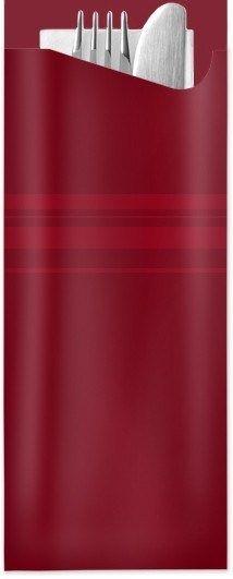 Pochetta Fit in Bordeaux, 85 x 190 mm, mit 2-lagiger Tissue-Serviette in Weiß - 1 Karton/350 Stück