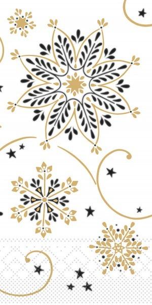 Tissue Serviette Cristal in Schwarz-Gold, 33 x 33 cm, 1/8 Falz, 100 Stück - Mank