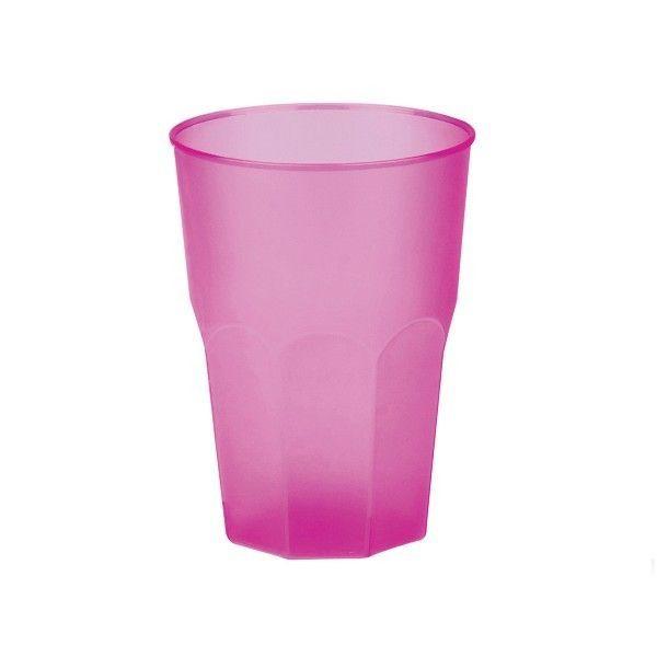 Mehrweg-Cocktailglas Pink-gefrostet 420ml aus Plastik, 6 Stück - Mank