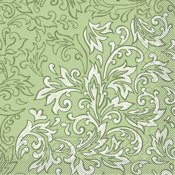 Tissue Serviette Delia in Grün, 33 x 33 cm, 100 Stück - Mank
