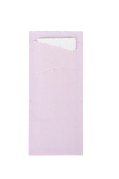 Bestecktasche Prime Fit in Hellrosa 85 x 190 mm, mit 2-lagiger Tissue-Serviette in Weiß -100 Stück