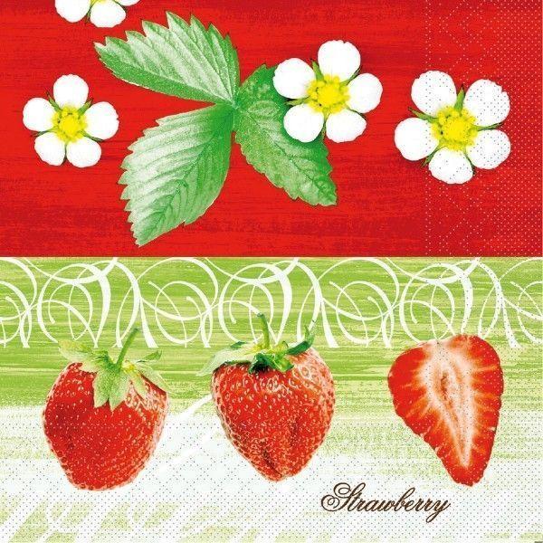 Tissue Serviette Strawberry, 40x40 cm, 100 Stück - Mank