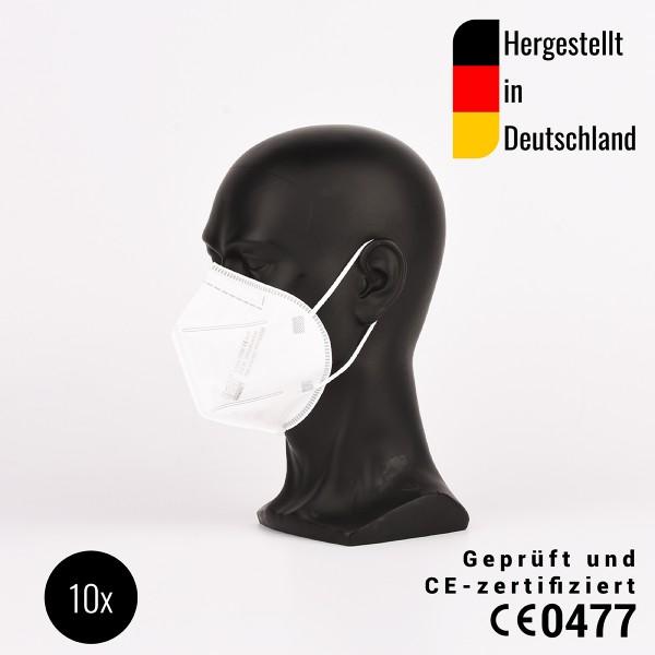 FFP2 Filtrierende Halbmaske-hergestellt in Deutschland,10 Stück, CE0477 + 1 Maskenhalter aus Silikon