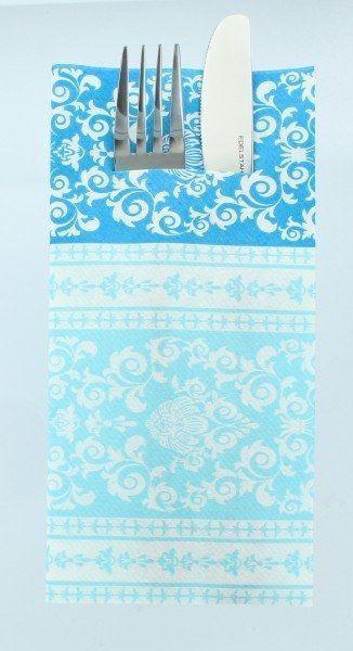 Airlaid Besteckservietten Pascal in Aquablau, 40 x 40 cm, 75 Stück - Mank