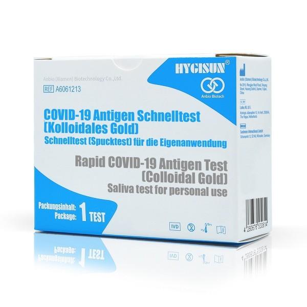 10er Set HYGISUN COVID-19 Antigen Schnelltest Kit, Spucktest, Laientest - Einzel verpackt - 10 Stück