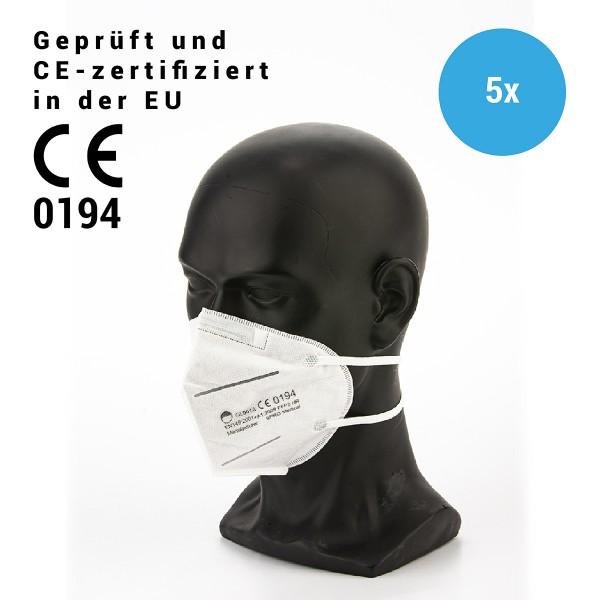 Mundschutzmaske 3lagig FFP2, CE 0194, KN95, mit Nasenclip - 5 Masken