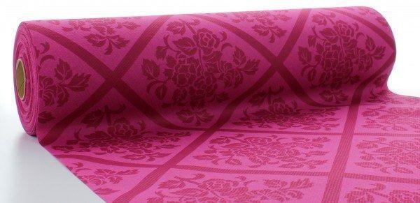 Airlaid Tischläufer Damast in Violett, 40 cm x 24 m , 1 Stück - Mank