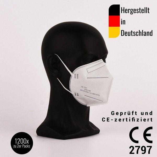 FFP2 Halbmasken, zertifiziert CE2797 - hergestellt in Deutschland - 2er Pack, 1200 Stück