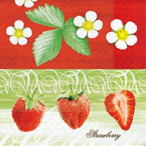 Tissue Deluxe Serviette Strawberry, 40 x 40 cm, 50 Stück - Mank