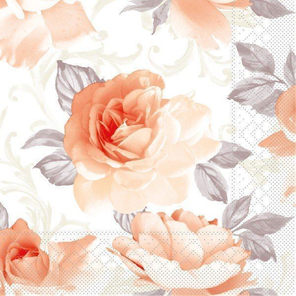 Tissue Serviette Rosalie in Aprikot, 40x40 cm, 100 Stück - Mank
