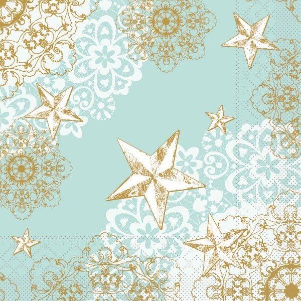 Tissue Serviette Sternenschein in Mintgrün-Gold, 33 x 33 cm, 100 Stück - Mank